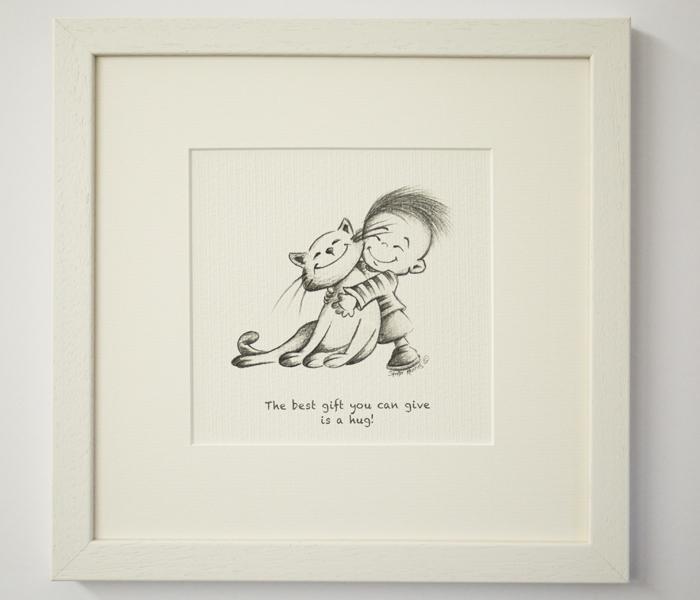 "Illustration ""Boy with Cat"""