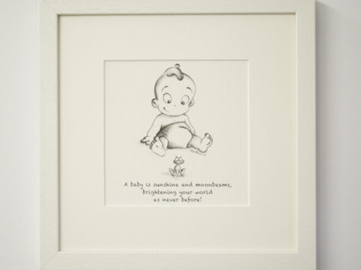 """Illustration """"Baby with Frog"""""""