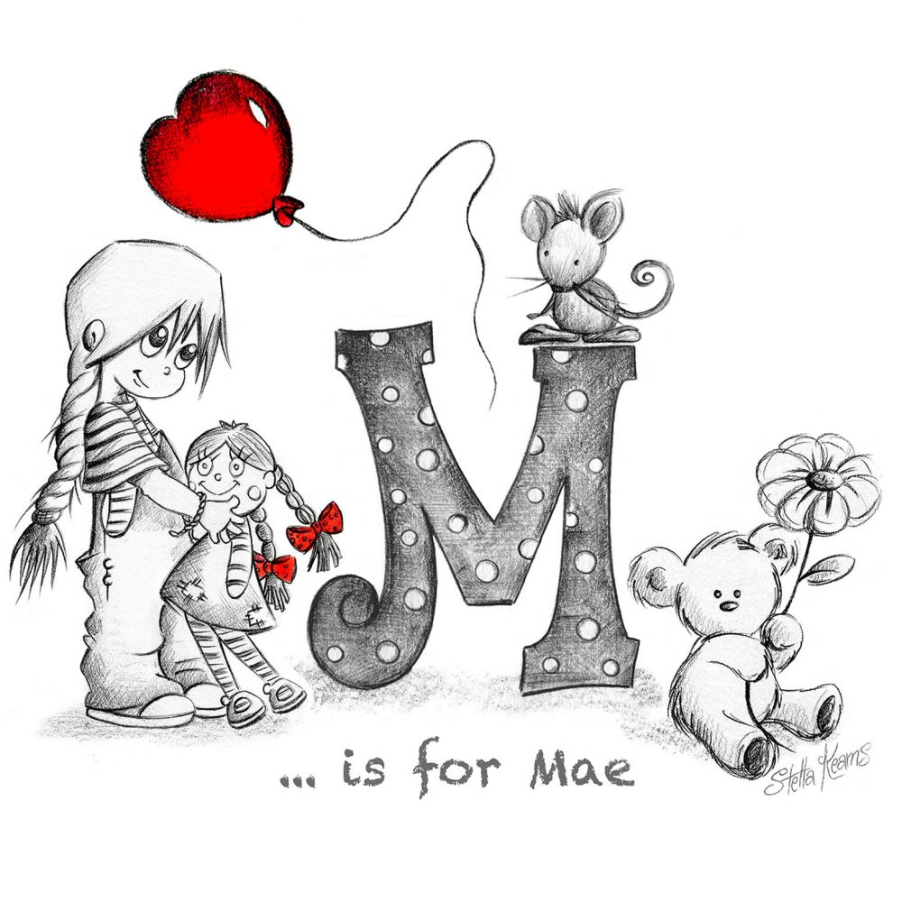 Letter M personalised illustration for girls